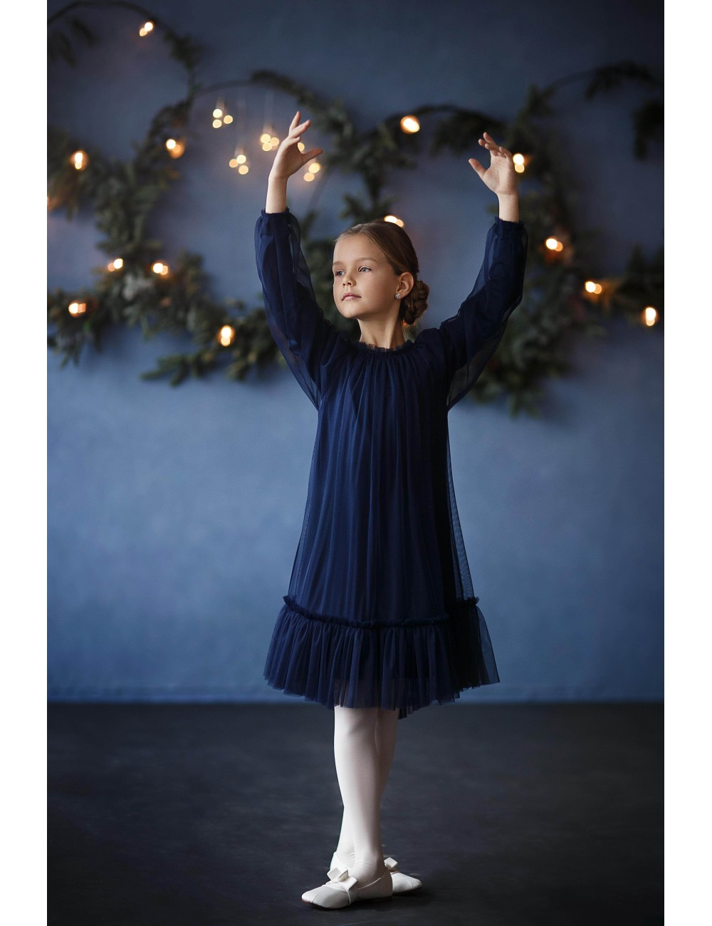 """MINIMI tamsiai mėlyna tiulinė suknelė """"Magic winter"""""""